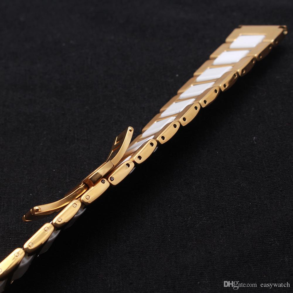 Or jaune en métal en acier inoxydable wrap en céramique blanche couleur mixte bracelets de montre bracelet montres durables accessoires bracelet mode 14 16 18 20mm