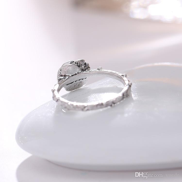 mode 925 silve accessoires unique rose Thaïlande argent sterling anneaux rétro compatible avec Pandora bijoux de charme pour les femmes