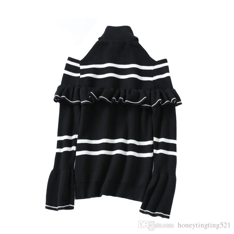 Autumn winter New design women's sexy o-neck long sleeve off shoulder ruffle flare sleeve knitted stripe print sweater jumper tops