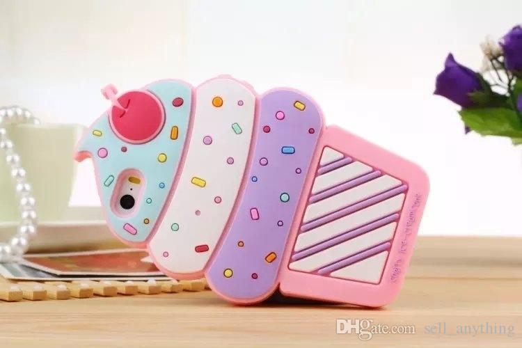 Ice Cream Cell Phone Case Lovely Sweet Korea Silicone Floral Strange Mobile Phone Shell For Iphone 7 7plus 6 Plus 5