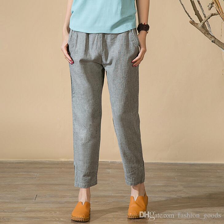 Best gift Art Fan Fan Ma spring and summer new loose leisure was thin linen Harlan trousers PW012 Women's Pants & Capris