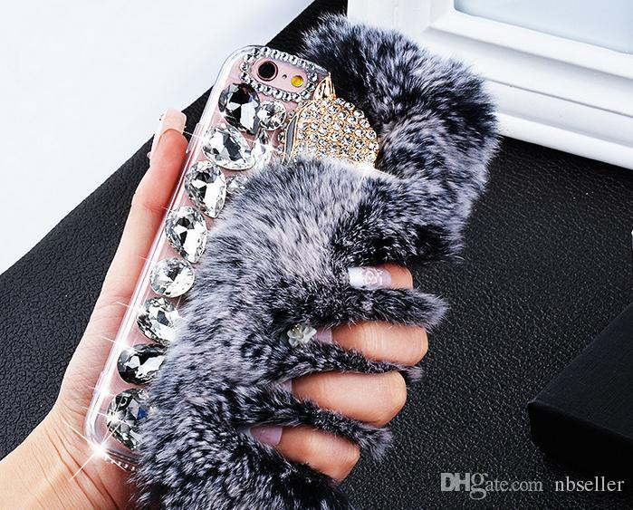 Lüks Tavşan Saç Kürk Tilki Kafası durumda Bling Bling Elmas Rhinestone TPU Kılıf kapak iphone 5 s 6 6 s artı 7 7 artı