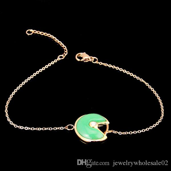 Priced direct selling lucky charms circle of round black and white and red, green, ms shell bracelet 18 k rose gold bracelet
