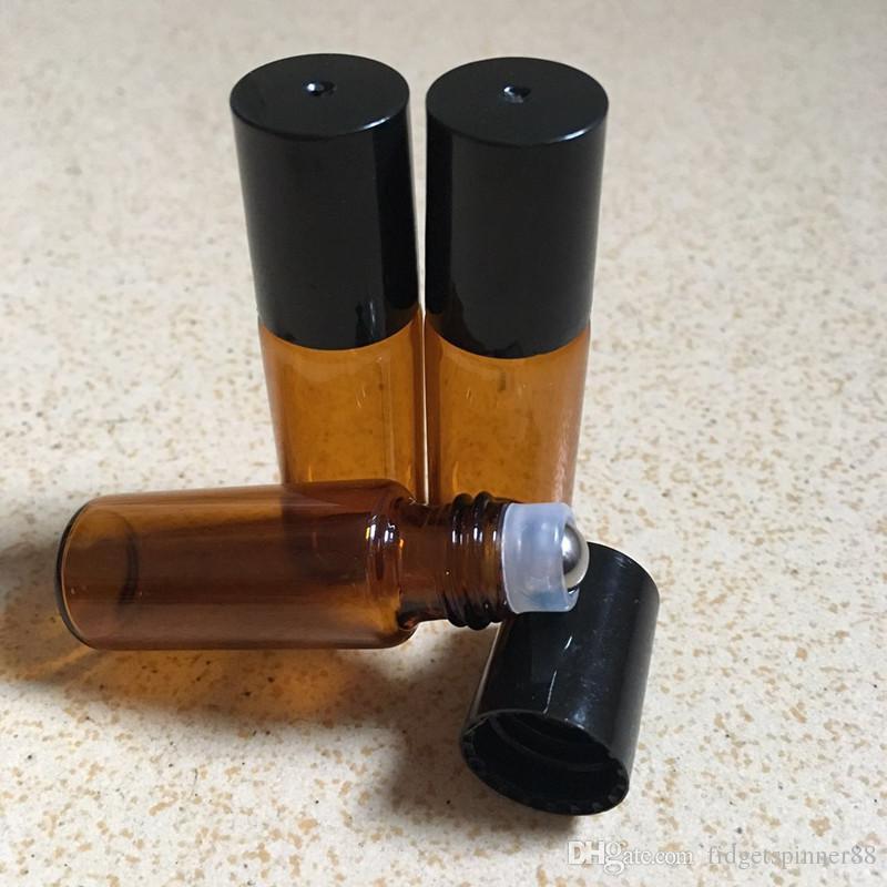 에센셜 오일 빈 향수 병 스테인레스 스틸 롤러 볼 DHL 무료 배송 5ml의 1 / 6온스 두꺼운 앰버 유리 롤