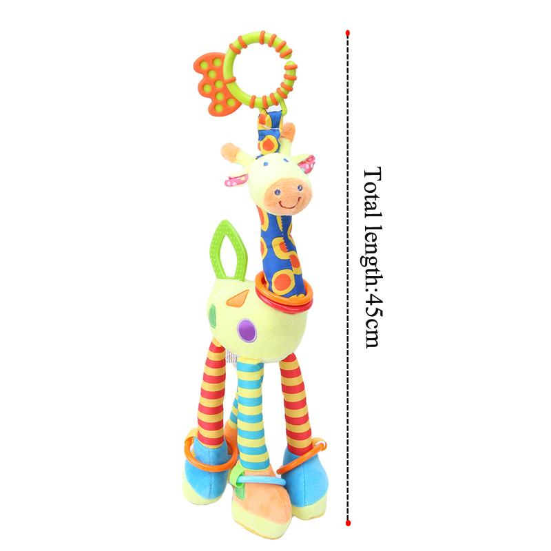 Plush Infant Baby Development Soft Giraffe Animal Handbells Rattles Handle Toys 45cm Hot Selling WIth Teether Baby Toy