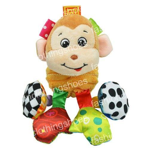 Sozzy الطفل الاهتزاز أفخم الحيوان الأسد لعبة راتل تغضن الصوت 18 سنتيمتر لينة لعبة متعددة الألوان محشوة