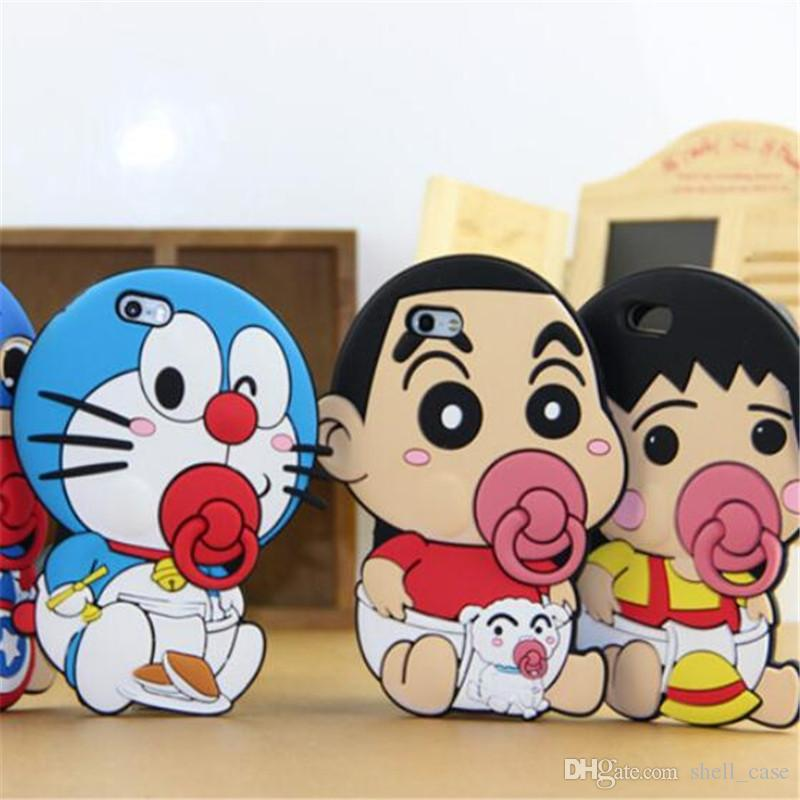For Iphone 7 3d Cartoon Silicone Case Doraemon Crayon Shin ...