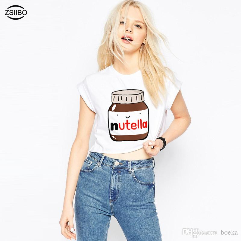 9d44e251c3e New Cute Nutella Print White Crop Tops Women Summer Short Sleeve T shirt  Sweet girl's Cropped Tops