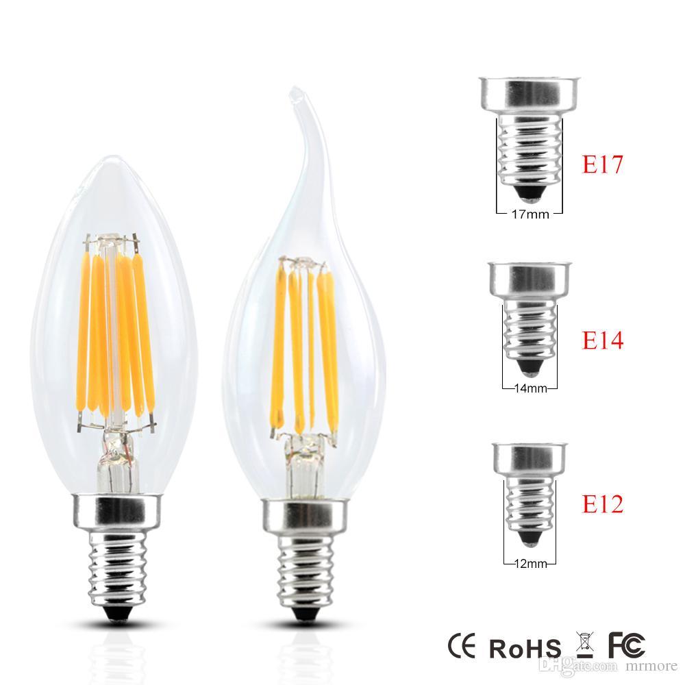 Dimmable E14 E12 E17 Filament Led Lamp 220v 110v 2w 4w 6w Led Edison ...
