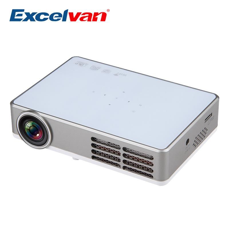 Wholesale-Excelvan LED9 Android 4.4 DLP Mini Projector Wireless WiFi Full 3D HD Proyector Home Theater Beamer 1200*800pixels 3000Lumens