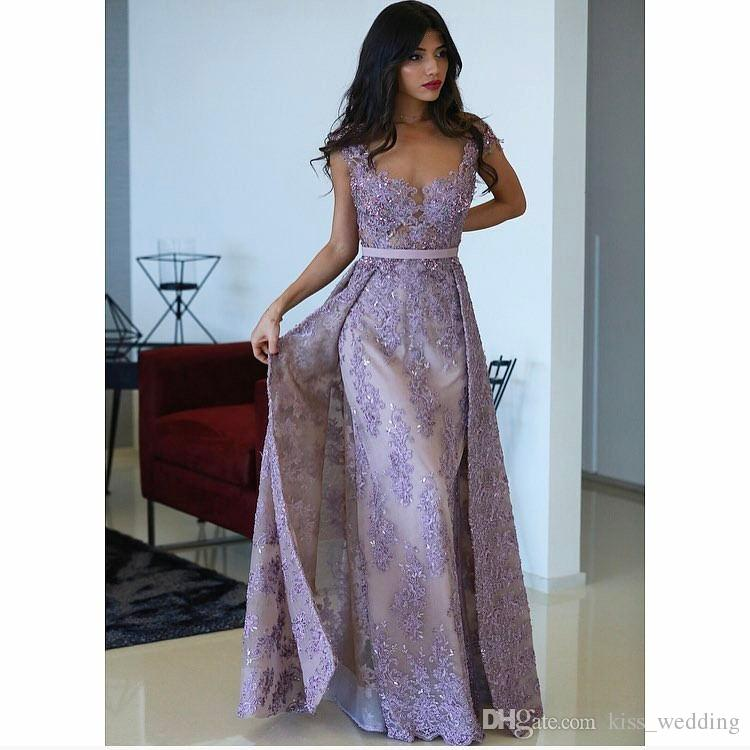 Beauty Womens Purple Lilac Long Prom Dresses Beads Lace Cap Sleeves vestidos festa Evening Party Gowns Overskirts Dress Custom Size