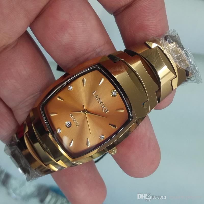 New arrival fashion gold bracelet Tungsten steel watch men high quality quartz watches men best gift for man