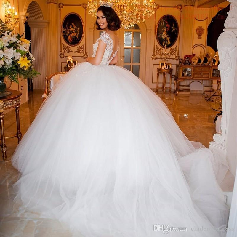 Luxurious Short Sleeves Super Ball Gown Wedding Dresses Jewel Sheer Chapel Train With Pearls Beaded Backless Custom Made Vestidos De Novia