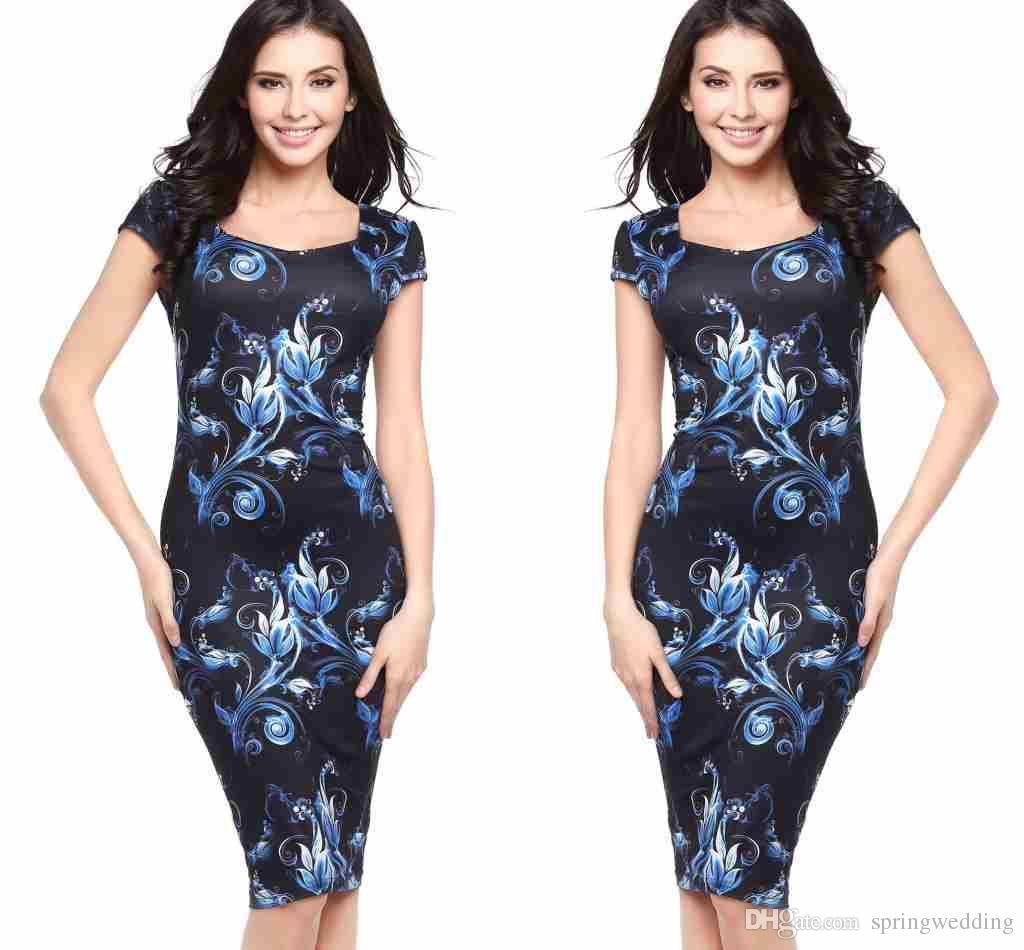 Vintage 2019 nuove donne abiti economici O collo elegante stampa floreale lavoro d'affari al ginocchio lunghezza casual partito fodero matita vestidos fs1054