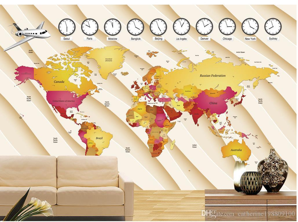 Photo Customize Size D Creative World Map Mural Background Wall - Los angeles map wallpaper