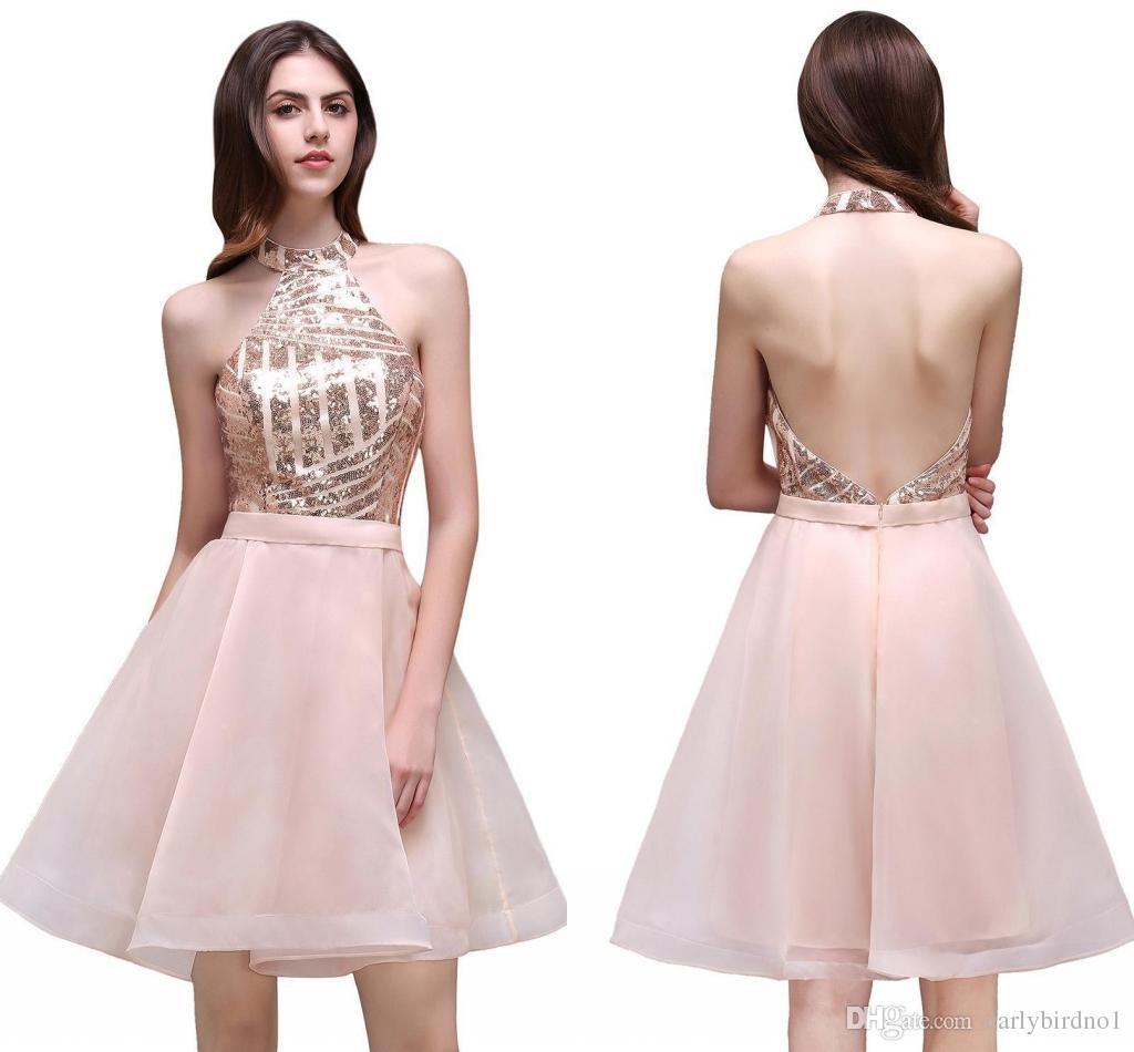 39c32f4db79 2018 Moins Cher Blush Peach Halter Neck Homecoming Robes Blingbling Or Rose  Paillettes Corsage Dos Nu En Mousseline de soie A-ligne Courte Robes De Bal  ...