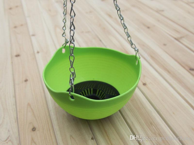 Flexible Chain Plastic Planter Basket Garden Home Balcony Indoor Outdoor Decoration Hanging Plant Glass Flower Pot ZA3063