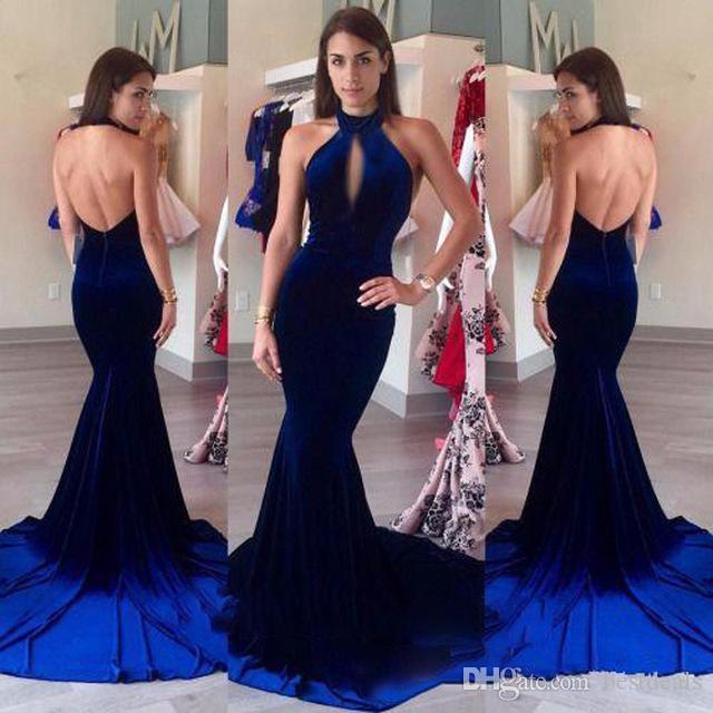 Kadife Abiye 2017 Halter Keyhole Ön Seksi Kraliyet Mavi Mermaid Balo Resmi Uzun Parti Törenlerinde vestidos