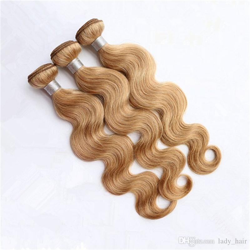 Honey Blonde 360 Full Lace Band Frontal With 3 Bundles Body Wave #27 Light Brown Peruvian Virgin Hair Weaves With 360 Lace Closure