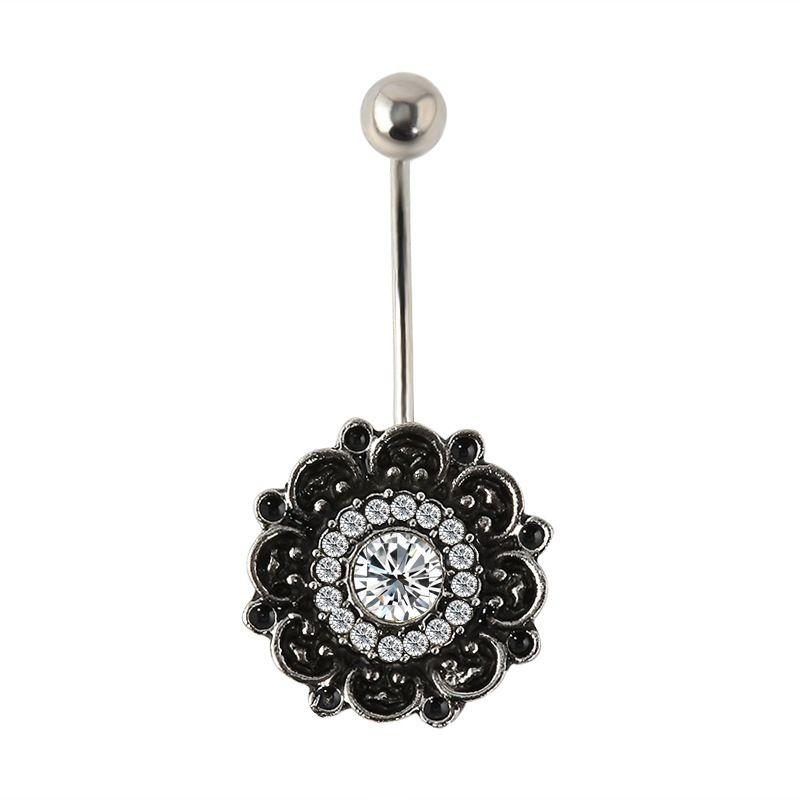 Body Jewelry Fashion Diamond Belly Button Ring Circular Crystal Navel Studs Body Piercing Jewelry