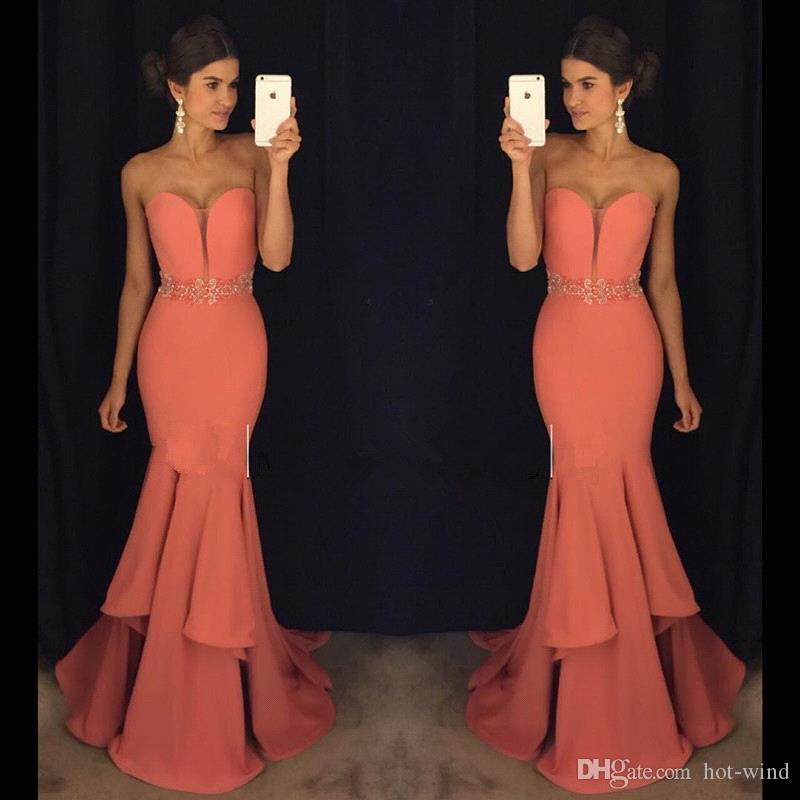 2017 New Coral Mermaid Prom Dresses Sweetheart Sequins Tiered Floor ...