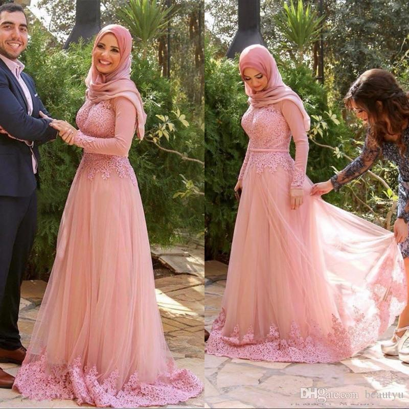 Compre Blush Pink Vestidos Formales Musulmanes Desgaste De La Noche ...