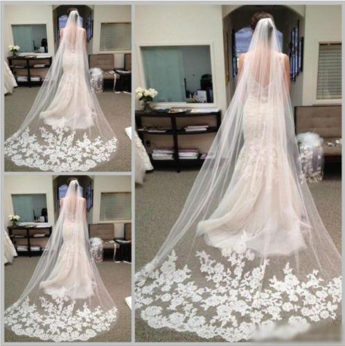 Лучшие продажи белый кот Catherdral невесты 3 м длинные свадебные вуали кружева с расческой в наличии 2019 аксессуары