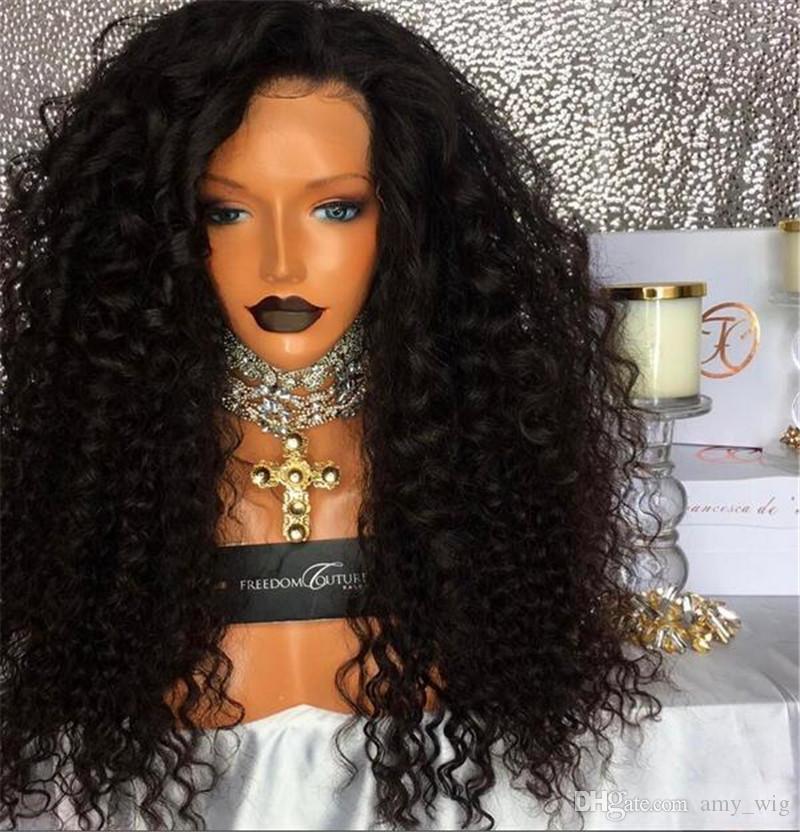 180 Density Long Kinky rizado sin cola Pelucas llenas del cordón Peluca virginal profunda peruana del pelo del pelo de la Virgen Pelucas llenas del pelo humano del frente