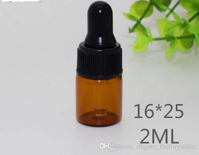 Großhandels1ml 2ml 3ml bernsteinfarbene Glastropfenzählerflaschen mit schwarzer Kappe, Flasche des ätherischen Öls, kleine Parfümfläschchen, Probenahme-Lagerung