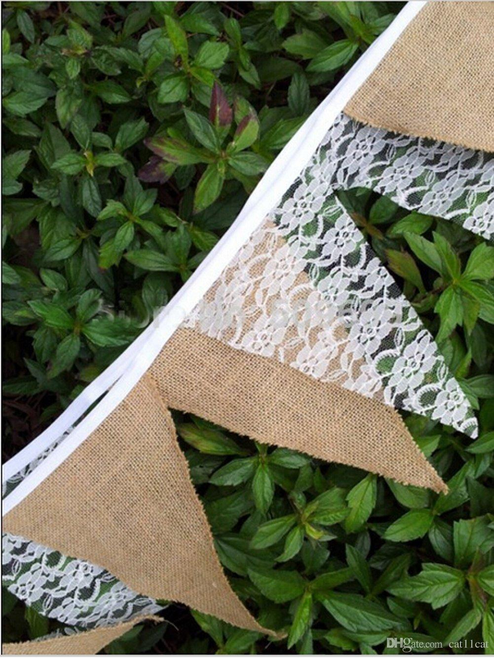 2018 Hessian Burlap Floral Lace Banner Bunting Garland Rustic Wedding Party Home Decoration From Cat11cat 272