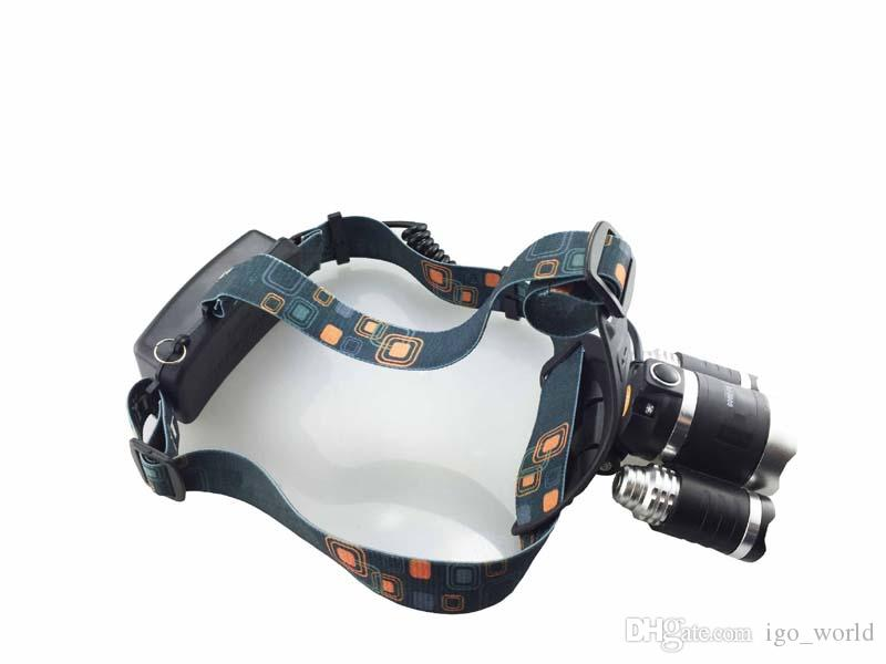 2017 BORUIT 3T6 LED headlamps CREE T6 3 Led 5000LM Rechargeable 18650 high power head lamp lights