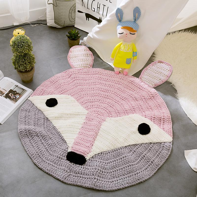 Hand Knitted Animal Mats Cute Cartoon Fox Bear Rabbit Patterns Baby