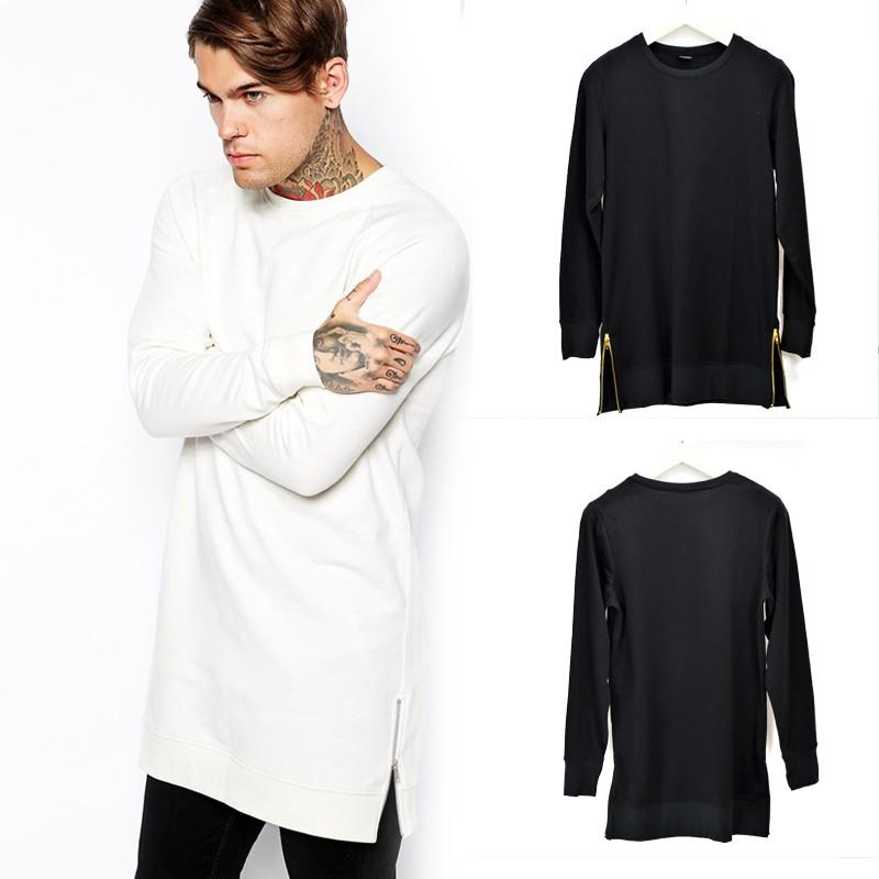 timeless design 47840 62f73 Maglietta lunga uomo bianca nera con cerniera a maniche lunghe Streetwear  Moda Hip-Maglieria lunga cool maglietta lunga maschile Oversize ZL3476