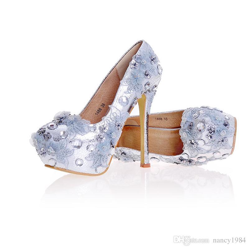 f02001a2d55498 Großhandel Silber Brautjungfer Schuhe Neue Designer Handmade Hochzeit  Brautschuhe Einfache High Heel Party Event Pumps Plus Size Mehr Heels Von  Nancy1984