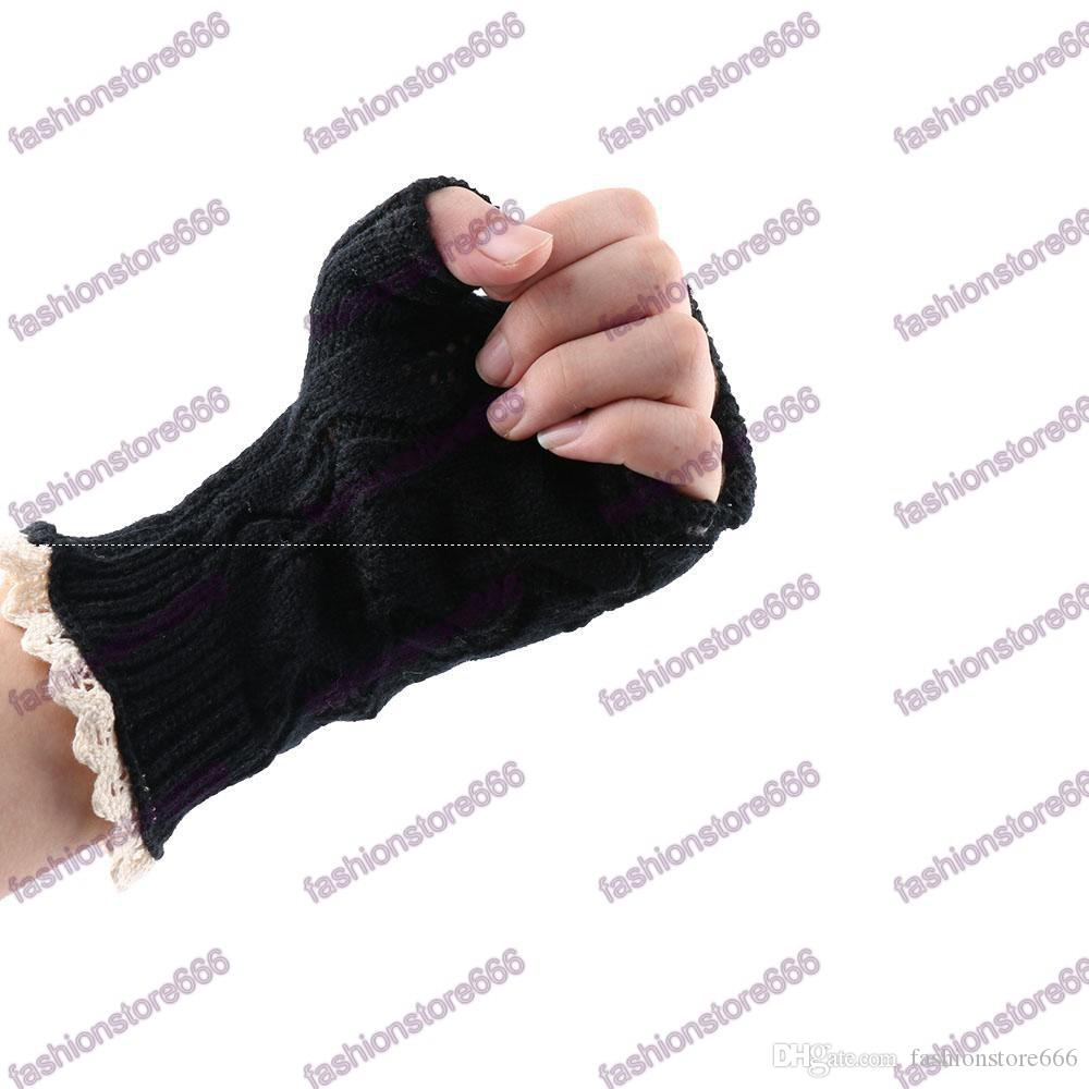 Hot Elegant Fingerless Gloves Hollow Weave Gloves With Buttons Lace Wram Knitted Gloves Gifts for Girls Women Ladies