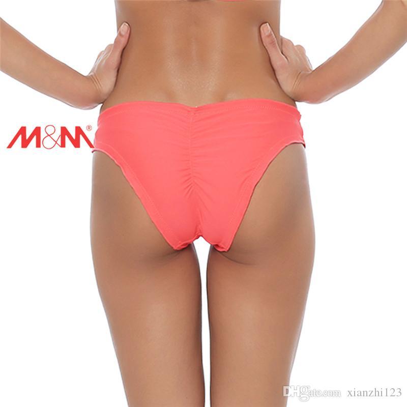 i colletto arruffato triangolo tronco donne sexy costumi da bagno slip in basso lato cresciuto pantaloncini vita bassa nuotare bikini brasiliano femminile fondo