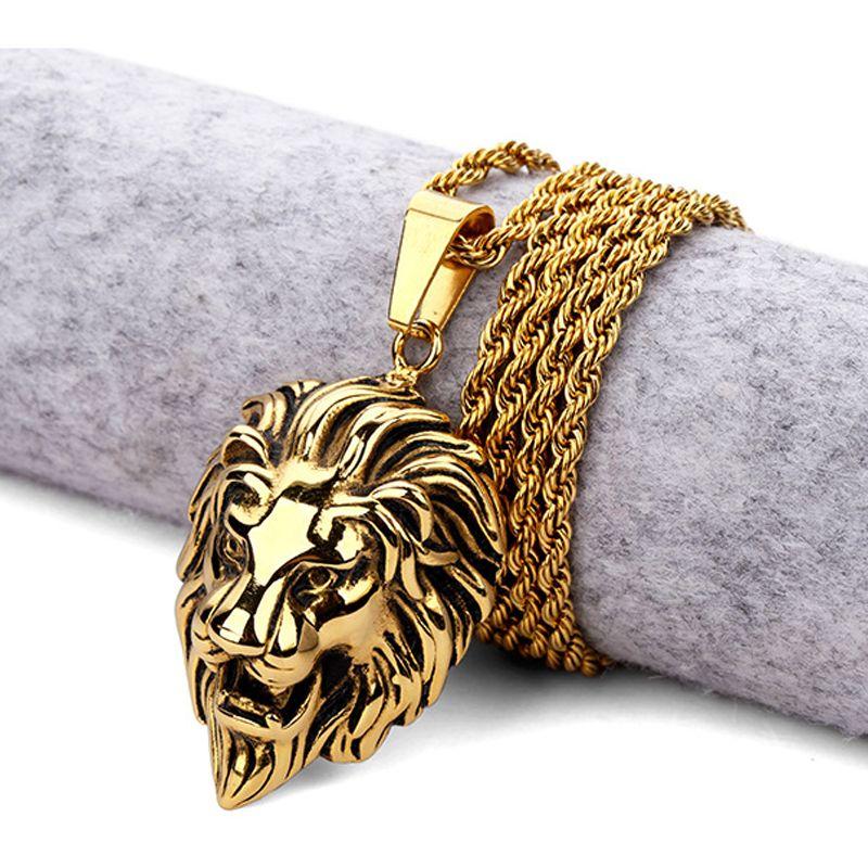 Hot Mens Hip Hop Lion collar colgante de acero inoxidable chapado en oro Lion Head Face Silver joyería encantadora