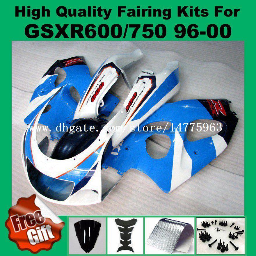 9Gifts carénages pour SUZUKI GSXR600 GSXR750 1996 1997 1998 1999 2000 GSX-R600 GSX-R750 96 97 98 99 00 GSXR 750 600 Carénages bleu blanc