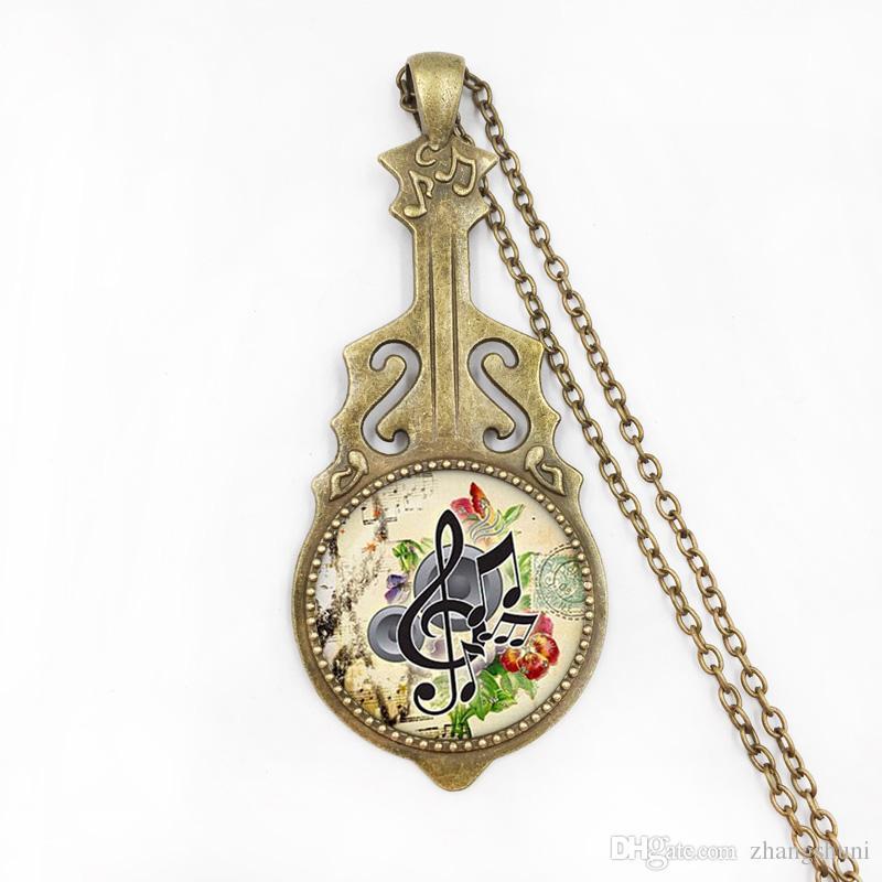 Atacado arte colar de vidro pingente de música g-clef colar nota da música colar de jóias de vidro cúpula jóias