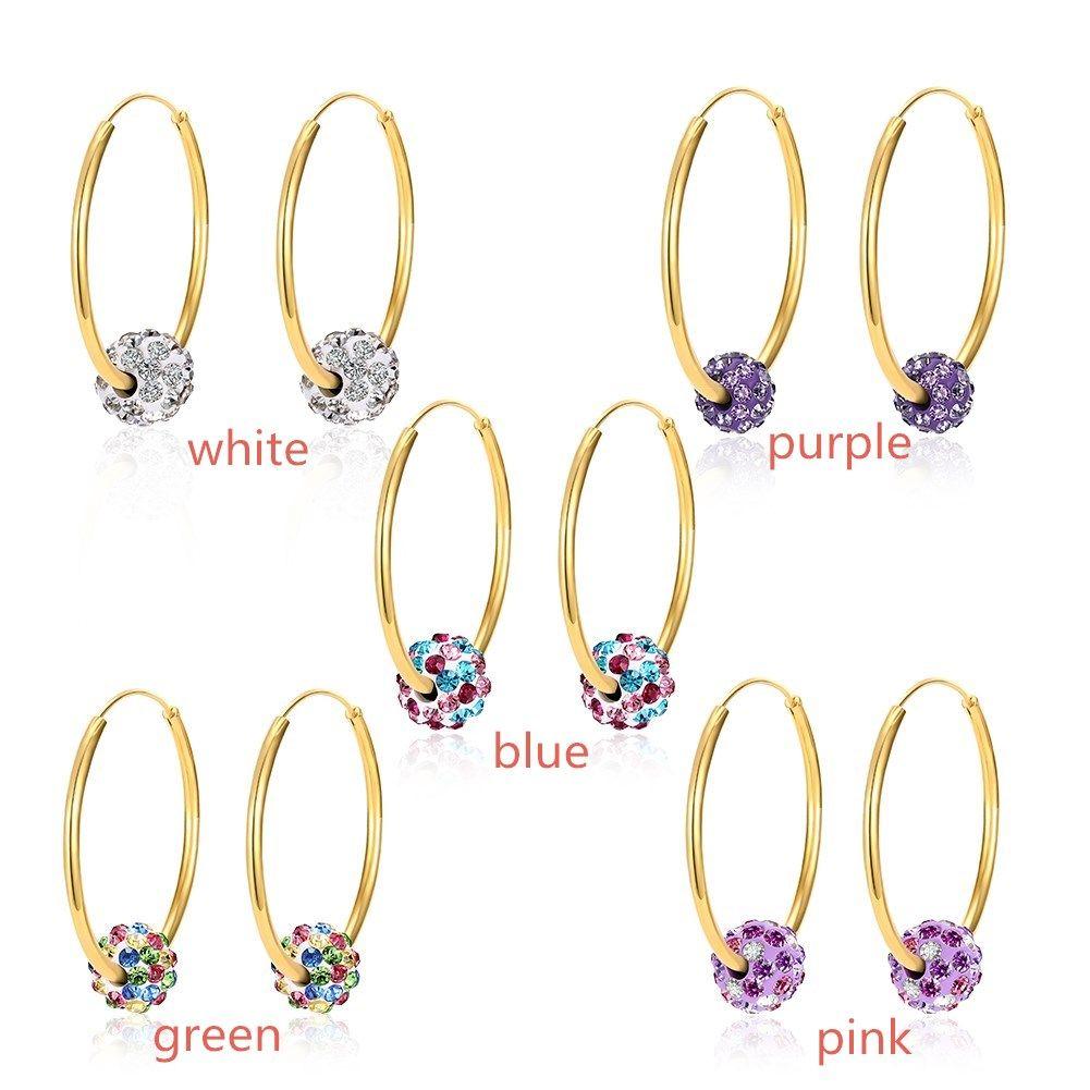 High quality Gold Plated Shambala Ball Hoop Earrings Diamond Crystal disco beads Earings fine Jewelry for women girls LKNSBE177