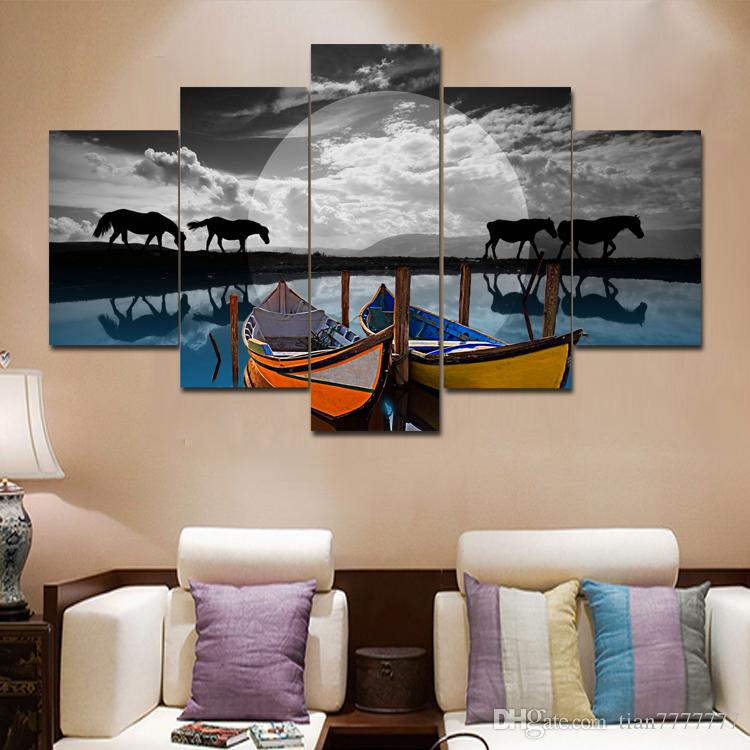 New Horse and Boats Landscape Picture Unframed Canvas Painting For Home Decor Wall Art Pictures
