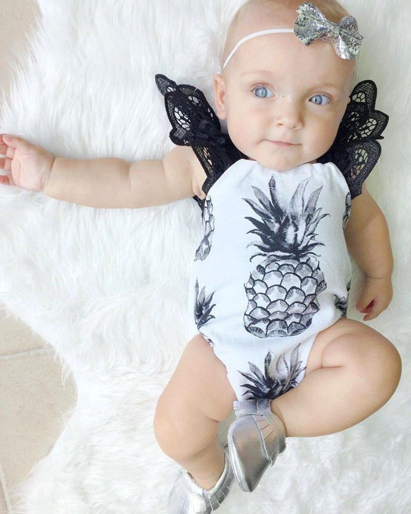 Bébé INS ananas barboteuses Fille Coton Dentelle impression volant manches barboteuse Arc Filles Ruffled Jumpsuit Toddler Infant vêtements