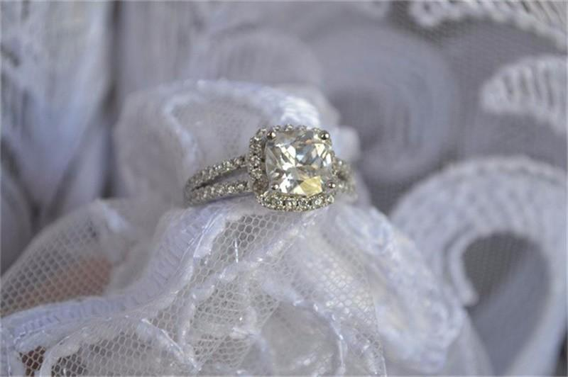 YHAMNI Original Bijoux De Mode 925 Sterling Argent Anneaux De Mariage pour les femmes Avec 8mm CZ Diamant Bague de Fiançailles En Gros J29HG