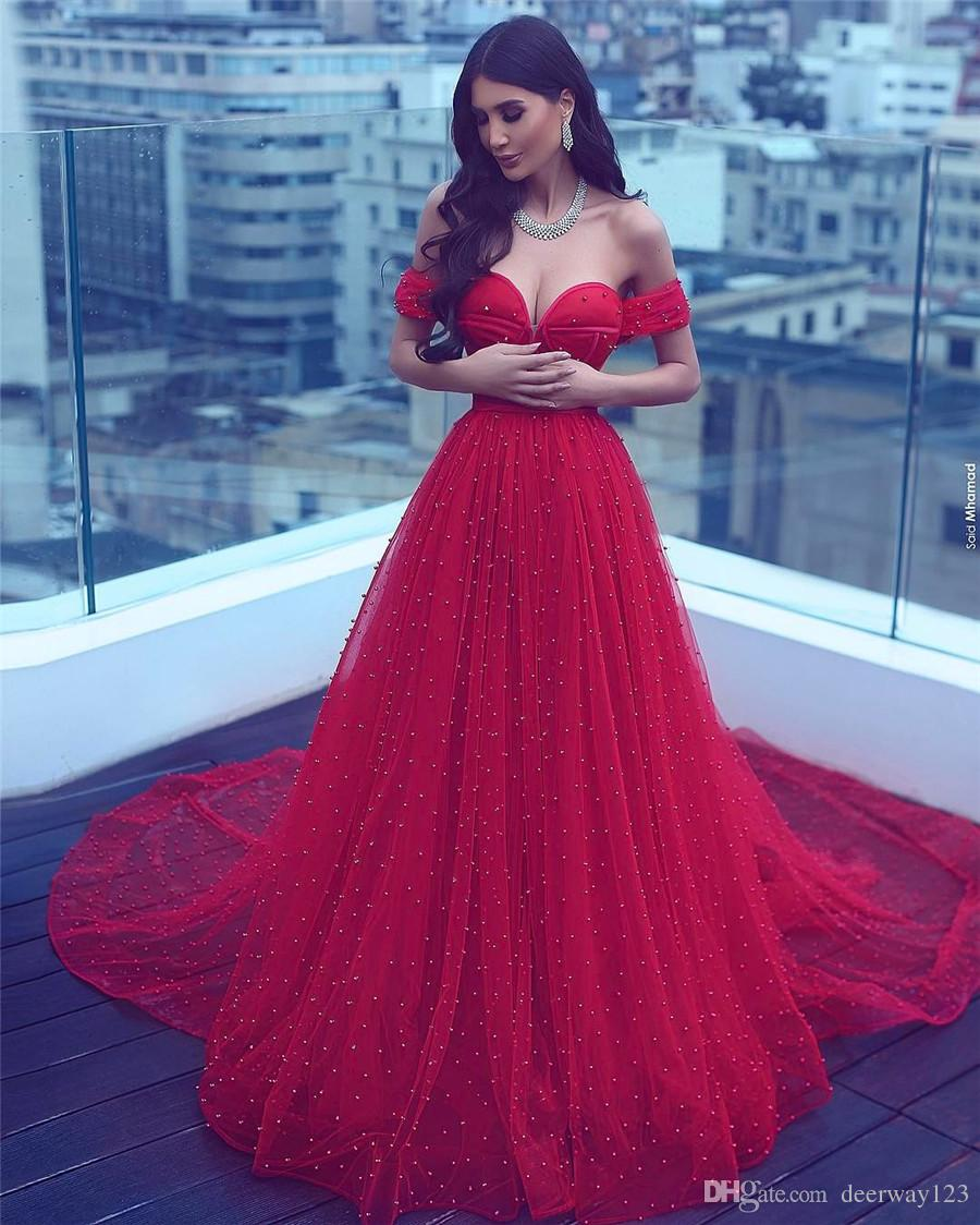 Saidmhamad Saudi Arabia 어깨 붉은 크리스탈 진주 구슬 댄스 파티 드레스 섹시한 연인 이브닝 가운 파티 드레스
