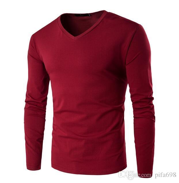Бесплатная доставка -. Когда новый досуг мужской личности V-образным вырезом с длинным рукавом футболки рендер без подкладки верхней одежды мужской футболки с длинным рукавом