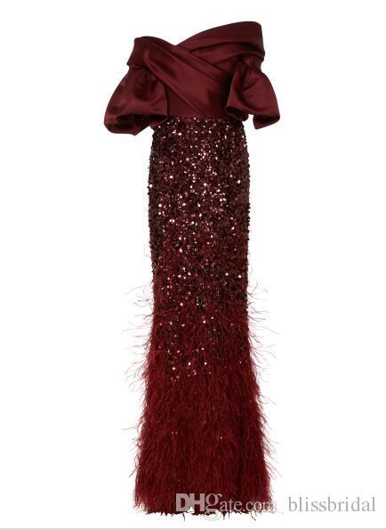 Elegante Borgonha Fora Do Ombro Vestido Com Pena Bordado Vestidos De Noite Custom Made Até O Chão Zipper Voltar Sereia Vestido De Baile