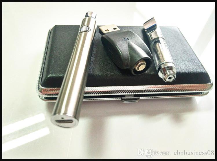 510 A3 glass cartridge vape pen vaporizer preheating battery 380mah bottom charger usb pass through bud pen open style mini e cigarette kit