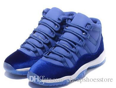 5a7a7ce7421e Hot With Box Air 11 XI Blue Velvet Heiress 2017 New Men Boy Basketball  Sport Shoes Wholesale Sneakers Size 7 13 Cheap East Bay Shoes Shoes Sports  From ...