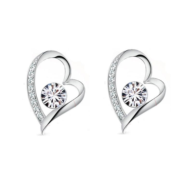 0a016b1959c09 18K White Gold Plated White Crystal Heart Earrings for Women made withe  Swarovski Elements Cute LOve Heart Stud Earrings Nice Gift