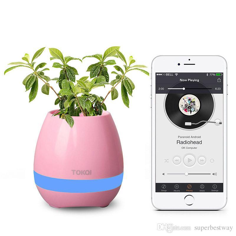 TOKQI Bluetoth Smart Touch Musique Pots de fleurs Plante Piano Musique Jouer Sans fil Flowerpot coloré lumière pots de fleurs OTH405